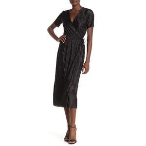 Lush Nordstrom Plisse Tie Waist Midi Wrap Dress